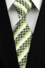 Men's Necktie Green White Stripe Man Classic JACQUARD Woven Neck Tie Tie Formal