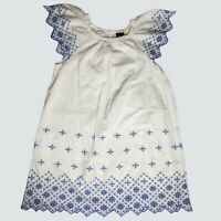 Gap Eyelet Dress Girls Size Small 6-7 White/Blue Embroidered Angel Wing Sleeve