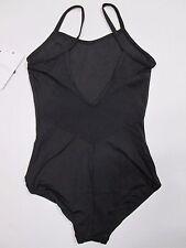 NEW Girl's L Large Black Camisole Mesh Back Leotard Capezio Dance Ballet LC