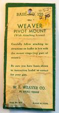 Weaver Pivot Mount Base 135 #48135 Colt, Enfield, Remington, S&W, Weatherby