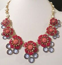 NEW TALBOTS RED FLOWER STATEMENT NECKLACE/EARRING SET 18-21""