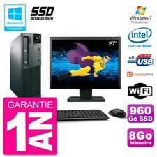 "PC LENOVO M82 SFF Screen 27 "" G2020 RAM 8Go SSD 960Go DVD Burner Wifi W7"