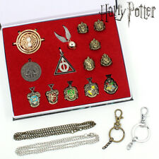 14PCS Harry Potter Quidditch Deathly Hallows Time Necklace Badge Ring In Box