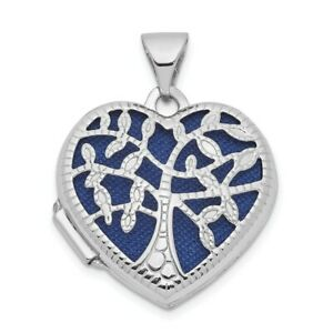 14k White Gold 18mm Tree Heart Photo Pendant Charm Locket Chain Necklace That