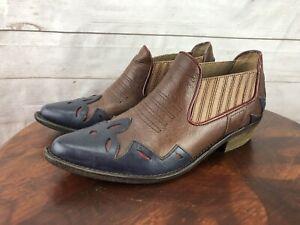 Lucky Brand Joelle Low Cut Western Booties Size 9 M Cowboy Boot Cuban Heel