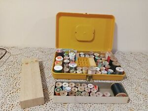 Wilson Wil-hold Vintage Bobbin Thread Sewing Case Gold 13 x 8.25 & 65 SPOOLS