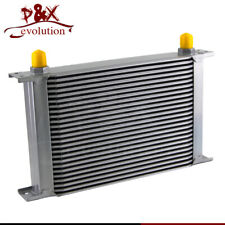 "25 Row 8AN Universal Engine Oil Cooler 3/4""UNF16 AN-8 Silver"