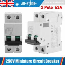 2 Pole 63A 250V Miniature Circuit Breaker 2P Electric Solar Air Switch C65H-DC #