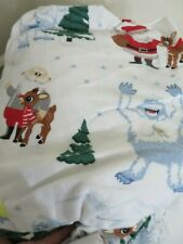 POTTERY BARN KIDS FLANNEL RUDOLPH & BUMBLE FULL SIZE SHEET SET 4 PIECE