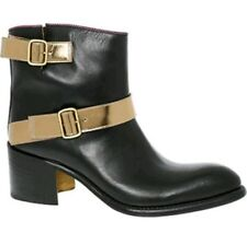 JUSTIN DEAKIN Women's Leather Strap Ankle Boots Black & Gold uk 4 eu 37 RRP £450