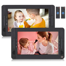 """2x10.1"""" coche portátil dual DVD Player auto apoyacabezas monitores USB Batería niños"""