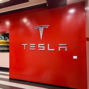 Tesla Logo and Letters Sign Garage Brushed Silver Aluminum Gift XL Size