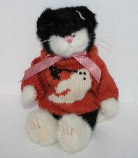 Boyds Halloween Black Cat Jointed Plush Stuffed Toy Orange Sweater Ghost & Bat