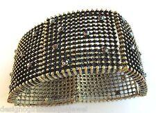 Lot Wholesale Metalic Rhinestone Studded Bracelets 6 Antique Gold-tone Stretch
