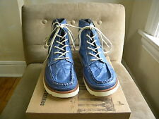 UNSTITCHED UTILITIES COOL LACE UP BLUE INDIGO STRAP DOWN BOOTS SNEAKERS 10