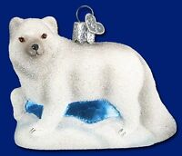 GLISTENING ARCTIC FOX OLD WORLD CHRISTMAS GLASS WHITE WILDLIFE ORNAMENT 12296