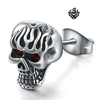 Silver stud red crystal stainless steel gothic single skull earring overlord