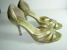 WOMENS GOLD WILD DIVA OPEN TOE EVENING PUMPS HEELS DRESS SHOES SIZE 7.5 M