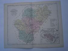 Carte 19° 1852  couleur atlas Malte brun Département Charente plan d'Angoulème