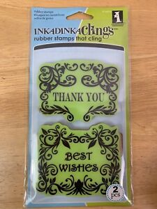 Thank You & Best Wishes Framed Expressions Cling Rubber Stamp Set by Inkadinkado