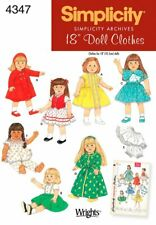 """Simplicity Archive 4347 18"""" Doll Clothes Pattern  New Uncut"""