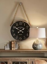 "VINTAGE LONDON FARMHOUSE MATTE BLACK 23"" ROUND WALL CLOCK WOVEN HANGING ROPE"