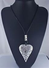 """Black Cord Matt Silver Fligree Heart Pendant Long Lagenlook Necklace 31.5"""""""