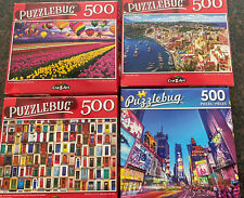 "Lot of 4 Puzzlebug 500 Piece Jigsaw Puzzles! 18.25""x11"". Tulips NYC Doors Coast"