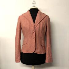 Ann Taylor Pink Herringbone Blazer Jacket Wool Silk Blend Career Womens Size 2