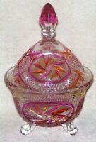 Vintage Spinning Star Crystal Footed Candy Dish With Lid Yellow Magenta Stained