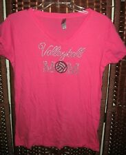 "Next Level pink volleyball Mom bling shirt XL 42"" bust crystals embellished top"