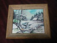 Folk Art Primitive Painting Sparrow in Winter Landscape Signed Birds Vintage Wow