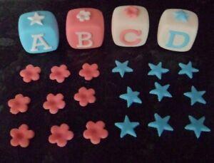 EDIBLE  NAME BLOCKS BLUE / PINK CAKE TOPPER DECORATION BIRTHDAY CHRISTENING