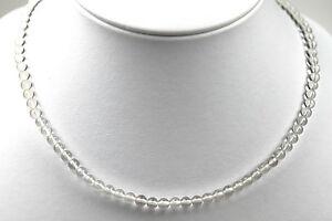 Halskette Kette Edelstein Natur Bergkristall transparent Quarz Kugel 4mm
