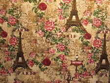 VINTAGE PARIS EIFFEL TOWER ROSES NATURAL COTTON FABRIC FQ