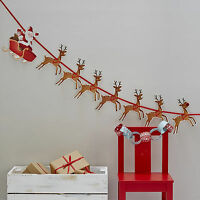 SANTA SLEIGH & REINDEER CHRISTMAS GARLAND FIREPLACE BUNTING Hanging Decorations
