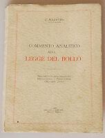 PRL) 1957 ANTIQUE BOOK LIBRO LIVRE GIURISPRUDENZA COMMENTO LEGGE DEL BOLLO