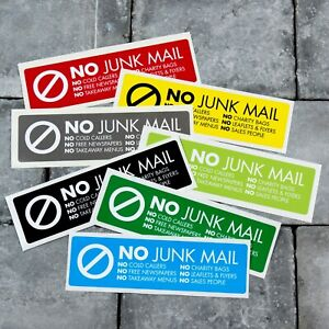 No Junk Mail Letterbox Front Door Sticker - 160mm x 45mm - 10 Colours Available