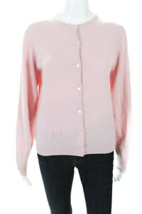Tse Womens Button Up Long Sleeve Crew Neck Cardigan Sweater Pink Cashmere Size S