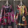 Vintage Femme T-shirt imprimé Coton Manche Longue Col Rond Loisir Haut Tops Plus