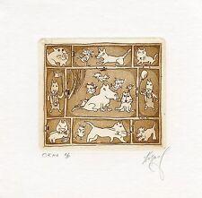"""Windows""  Cat, Dog, Bird,  Ex libris Free Graphic Etching by S. Kazimov, Russia"