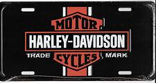 Harley Davidson VINTAGE LOGO Embossed Vanity Metal License Plate Auto Tag Blac