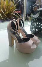 River Island uk7 eu40 Nude pink Leather Chunky Platform Ankle strap Shoes