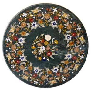 """42"""" Round Green Marble Center Table Top Semi Precious Stones Inlay Work"""