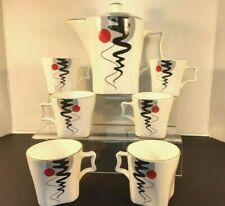 JCPL Fine Bone China (India) Tea/ Coffee pot/ with 6 cups Bone White Pre-Owned