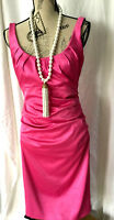 MAGGY BOUTIQUE Fuchsia Drapped Stretch BODYCON Dress Zipper Size 8 STUNNING NEW