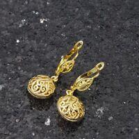 18K Gold Filled Stylish Italian Petite Filigree 18ct GF Dangle Earrings 30mm