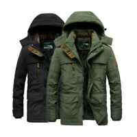 Men Winter Warm Thick Military Parka Zipper Sweater Jacket Fur Lined Hooded Coat