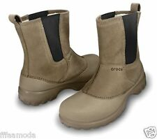 NWT $90 US Men's sz. 8 CROCS GREELEY Men's Leather Winter Boots Fur Lined Khaki
