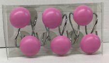Brand New 12 Pink round Button shape shower curtain hooks creative bath